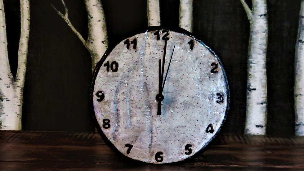 "9 1/2"" 12 number birch clock"