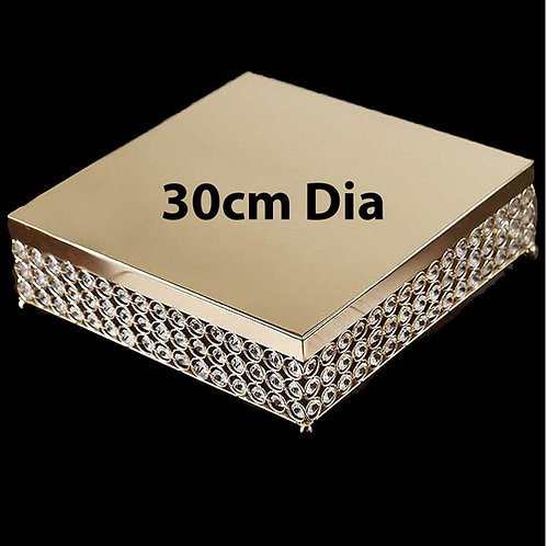 Square Crystal Cake Stand Gold 30cm