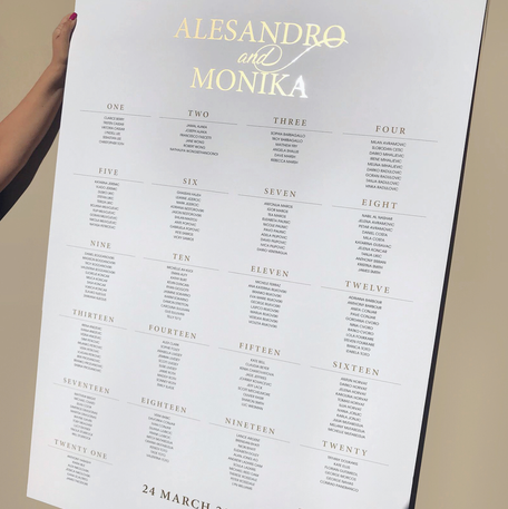 A0 Seating Chart with Gold Foil