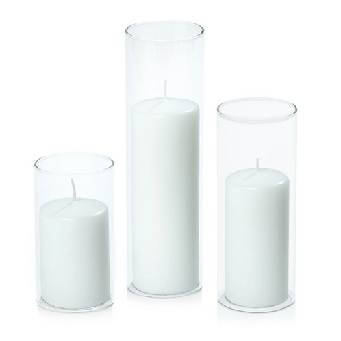 Cluster Of 3 Glass Pillar Candles