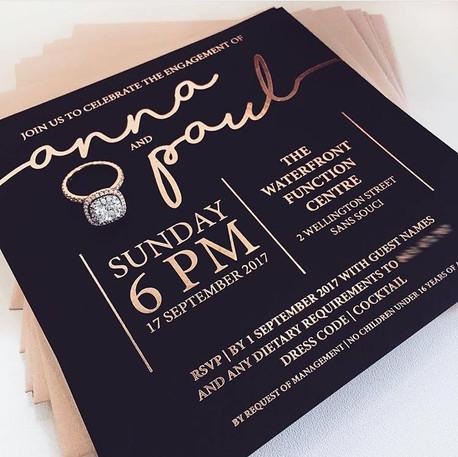 Rose Gold Foil Engagement Invitation