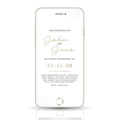 POSTPONED Wedding Digital Invitation