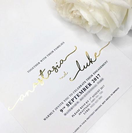 Gold Foil Engagement Invitation