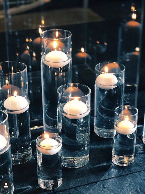 Cluster of 10 Floating Candles with Holders
