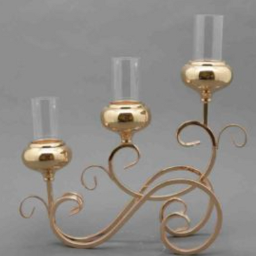 3 Arm Gold Candle Holder