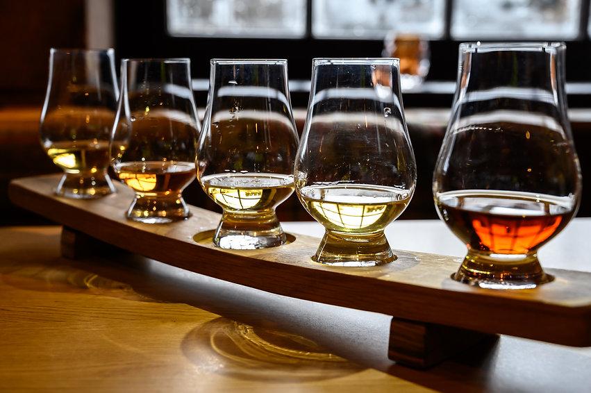 Set of Scottish whisky, tasting glasses