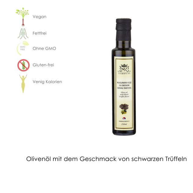 Olivenöl mit Geschmack von schwarzen Trüffeln