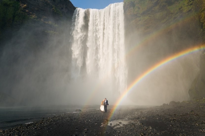Skogafoss waterfall wedding photo by Arctic weddings