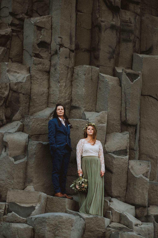 Iceland Wedding photos at Reynisfjara black beach in Iceland by Kristin Maria
