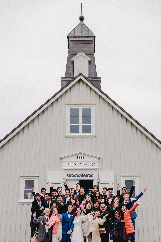 Pink Iceland Wedding photo from intimate Iceland Wedding in Strandakirkja