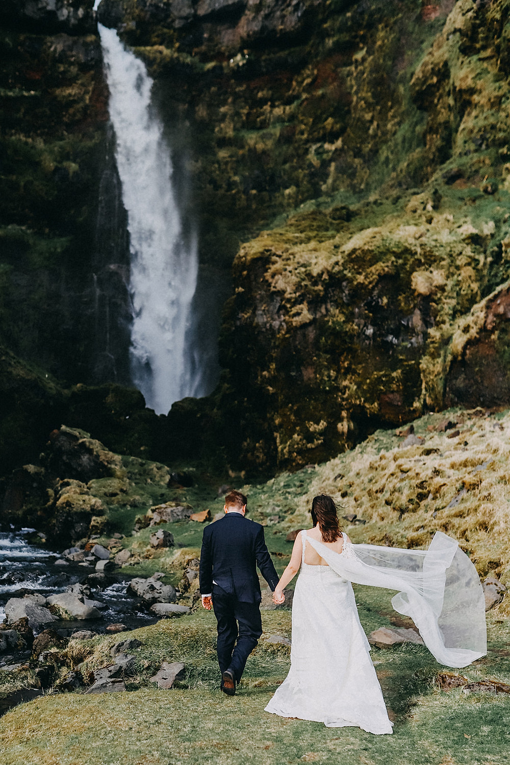 Iceland waterfall wedding photo by Kristin Maria wedding photographer