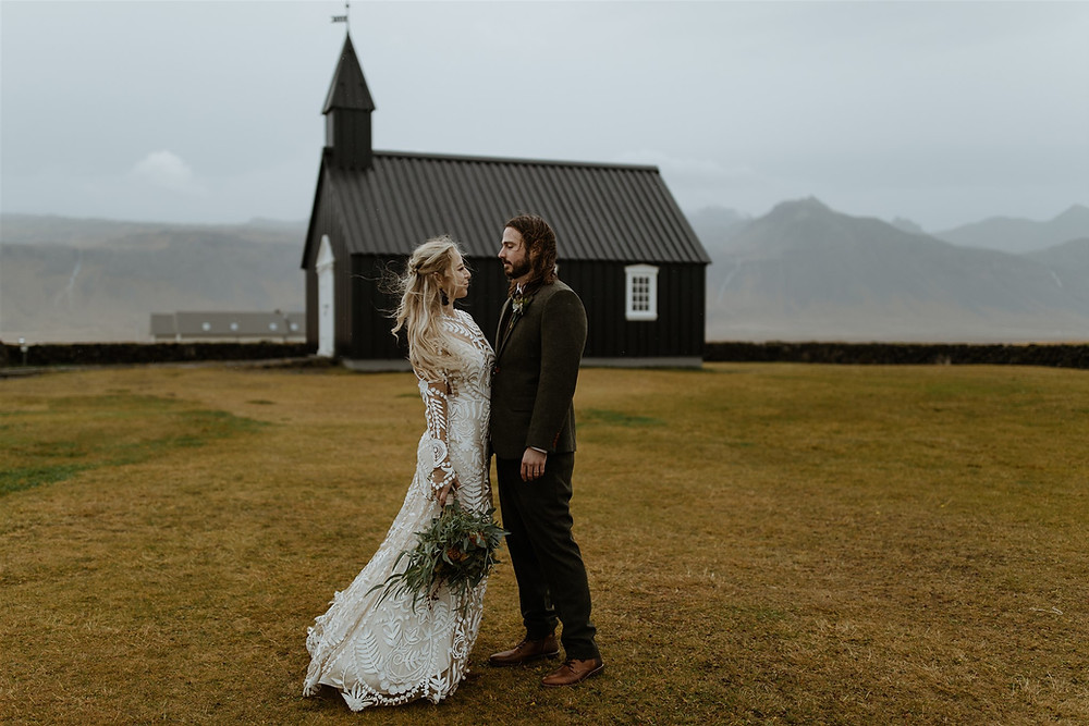 Iceland Wedding ceremony in Budir Black Church