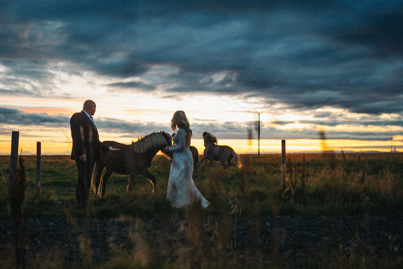 Midnight sun wedding photo in South Iceland. Iceland Wedding photographer: Kristín María