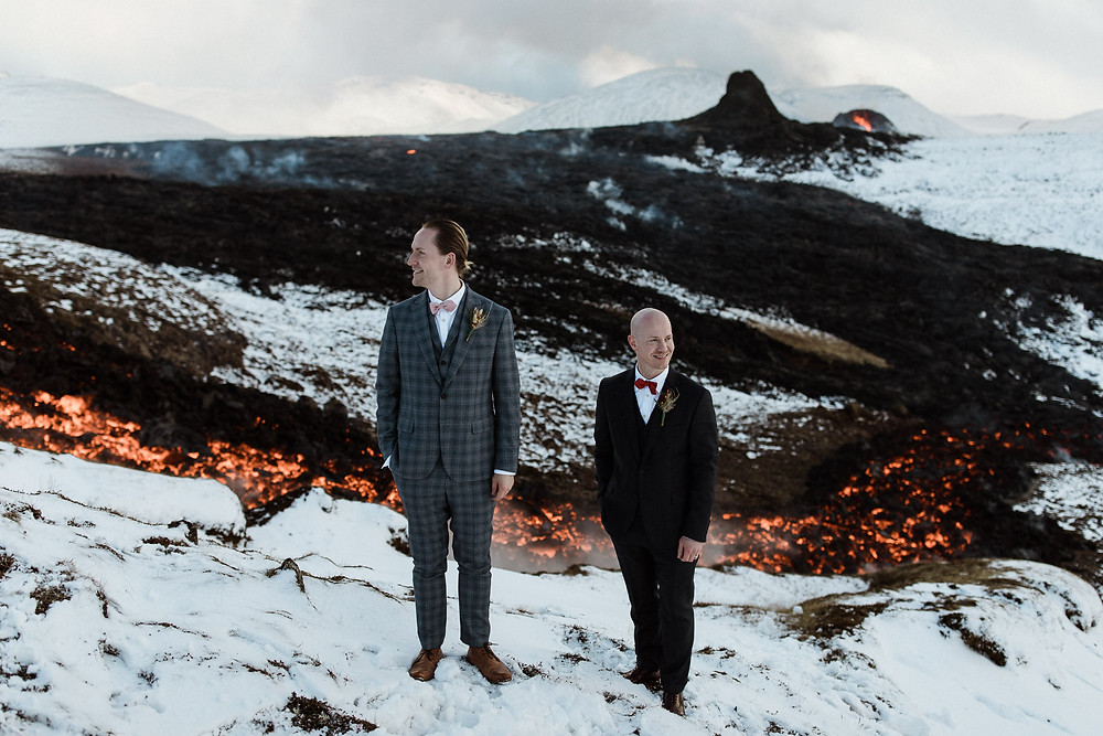 wedding by an erupting volcano in Iceland planned by Pink Iceland