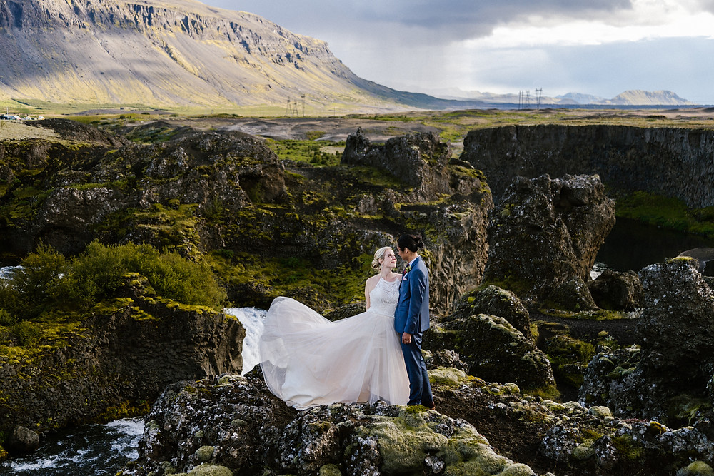Hjalparfoss Waterfall wedding ceremony in Iceland