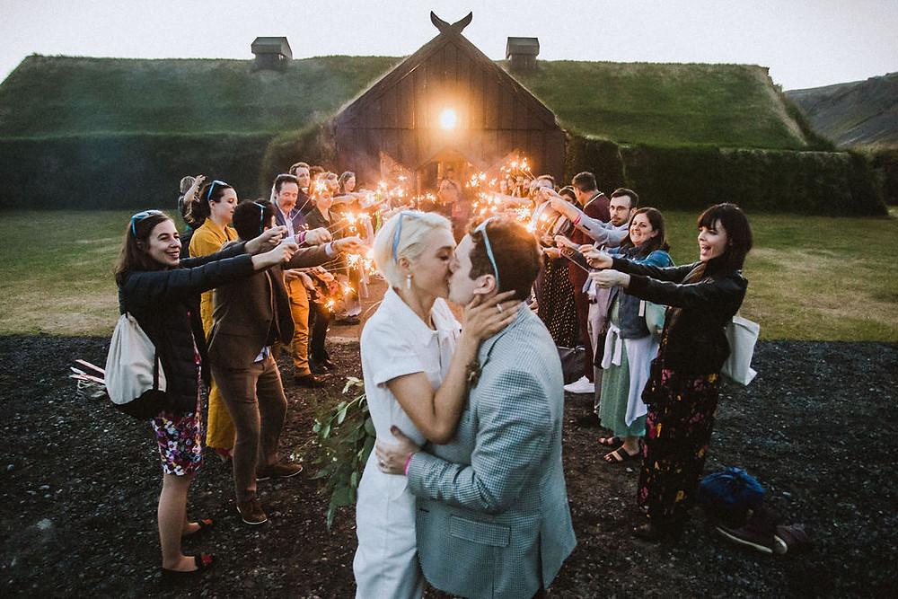 Iceland Wedding Exit - midnight sun