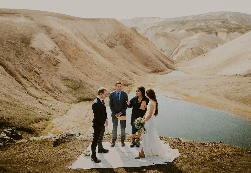 Wedding ceremony in Landmannalaugar Iceland