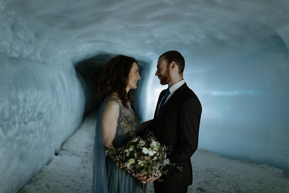 Iceland Wedding photos Into the Glacier