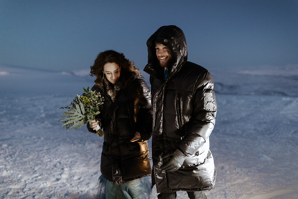 Iceland wedding ceremony in a glacier
