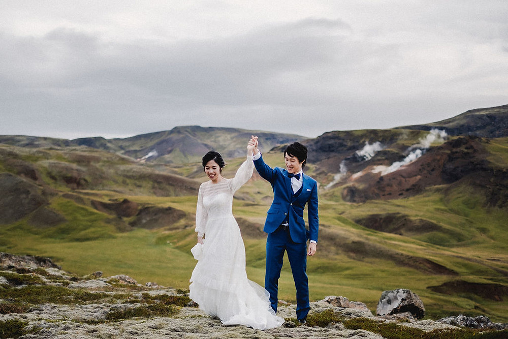 Iceland Wedding photo in a geothermal area