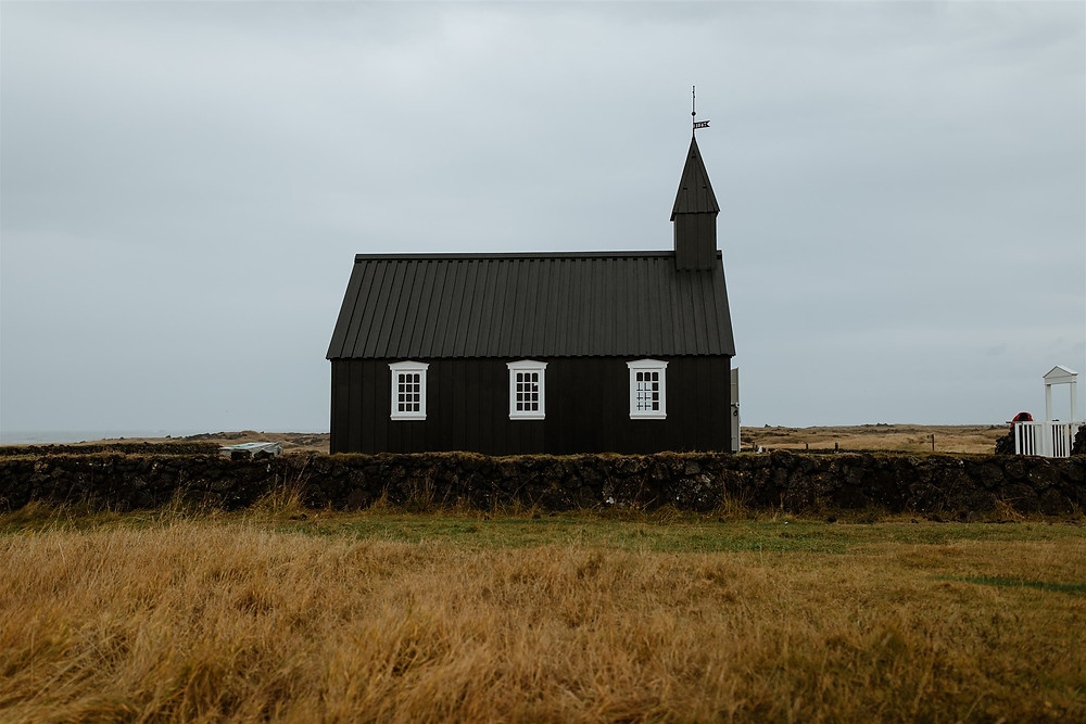 Budir Black church in Budir lava field on Snæfellsnes peninsula