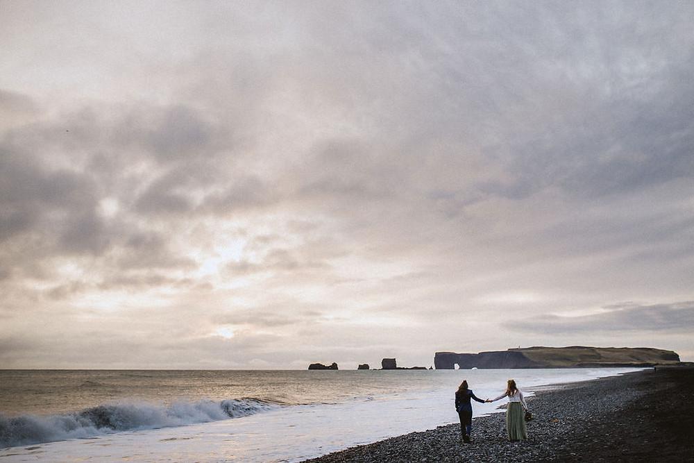 Iceland Wedding photos at Reynisfjara black beach in Iceland