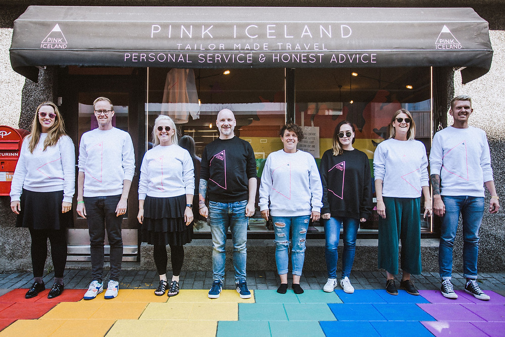 The Pink Iceland team outside the Pink Iceland office in Reykjavik