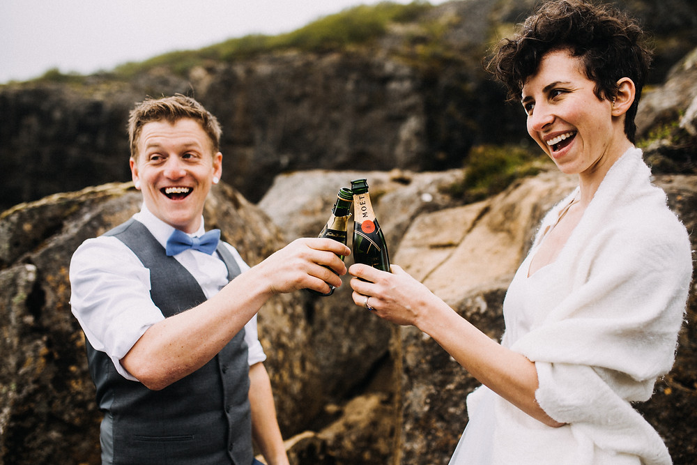 Glymur waterfall wedding ceremony in Iceland