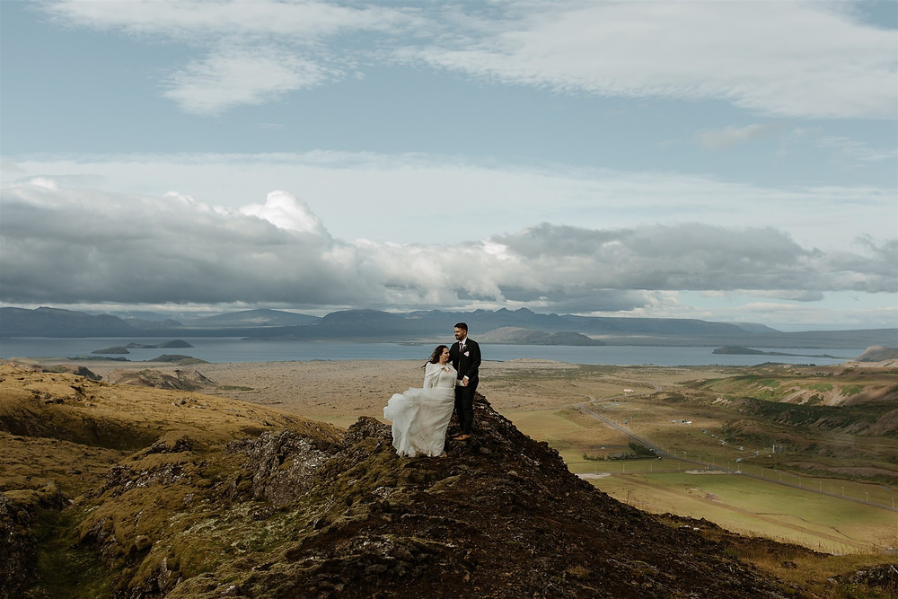 Iceland Wedding photo with views over Þingvallavatn lake