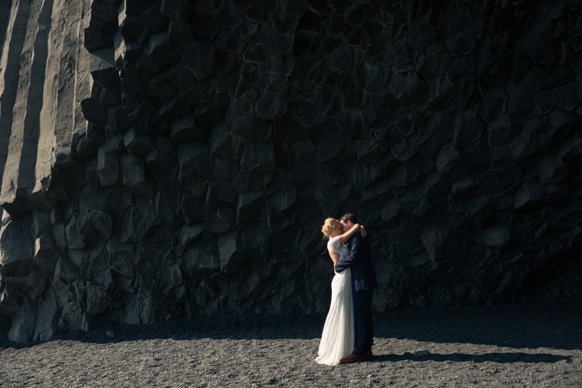 Iceland wedding photoshoot in Reynisfjara black beach in South Iceland