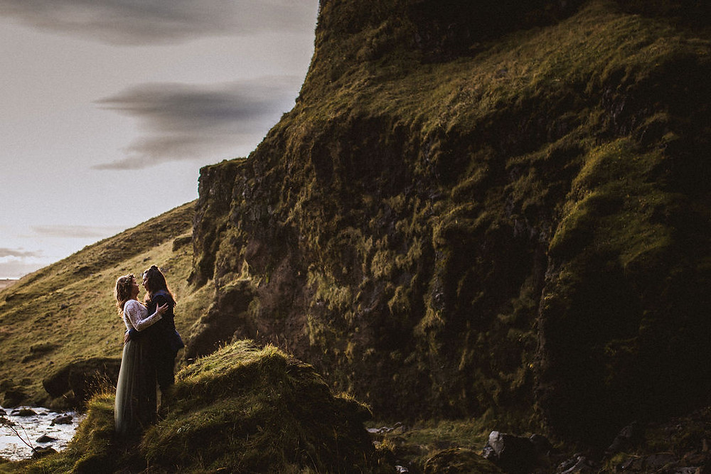 Iceland Wedding photo by waterfall by Kristin Maria