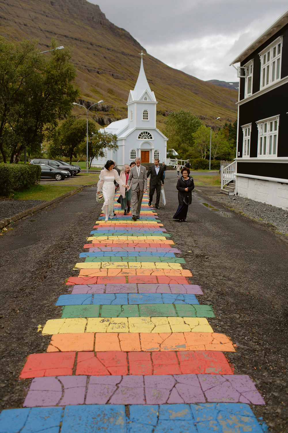 Wedding ceremony in the Blue Church in East Iceland