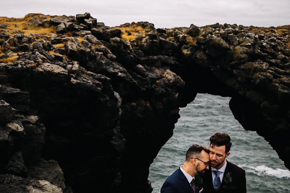 Iceland gay wedding Hotel Budir on Snaefellsnes peninsula.