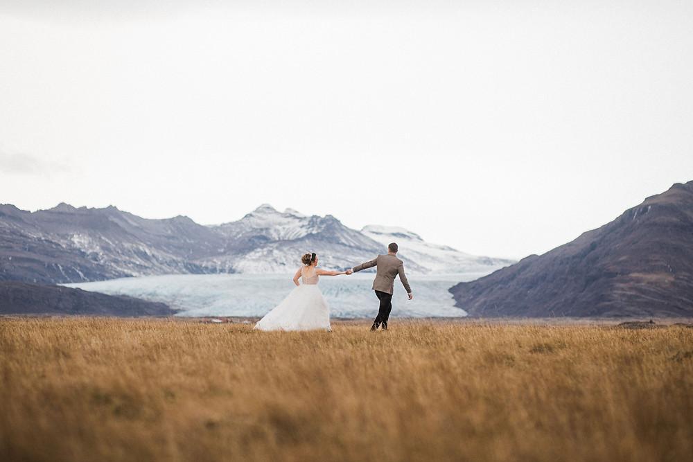 Glacier views wedding in South Iceland