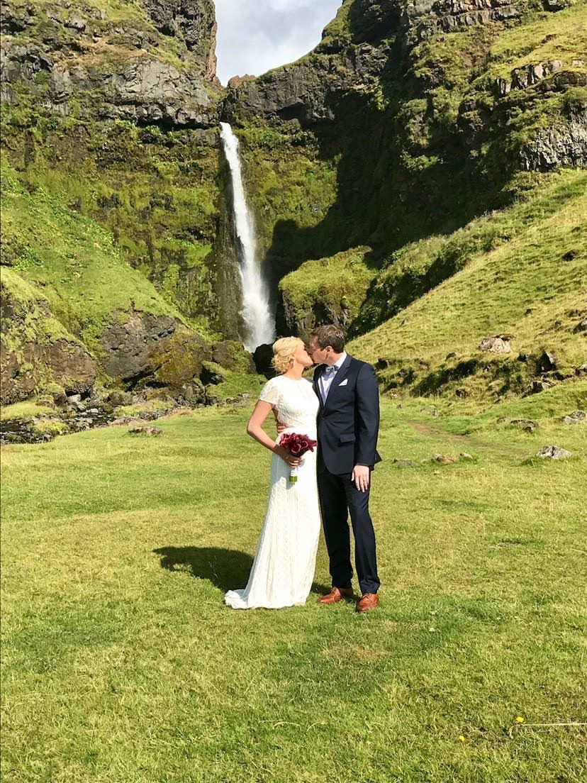 Destination Wedding in Iceland by Secret waterfall planned by Pink Iceland