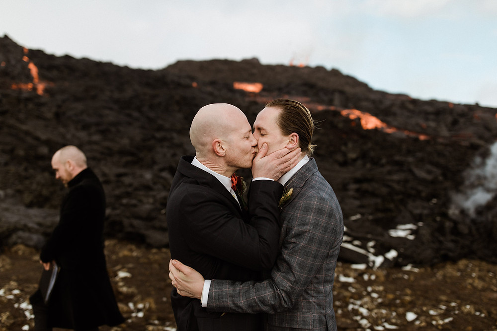Iceland Wedding ceremony by an erupting volcano Fagradalsfjall