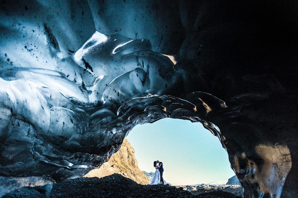 Glacier cave wedding in Iceland