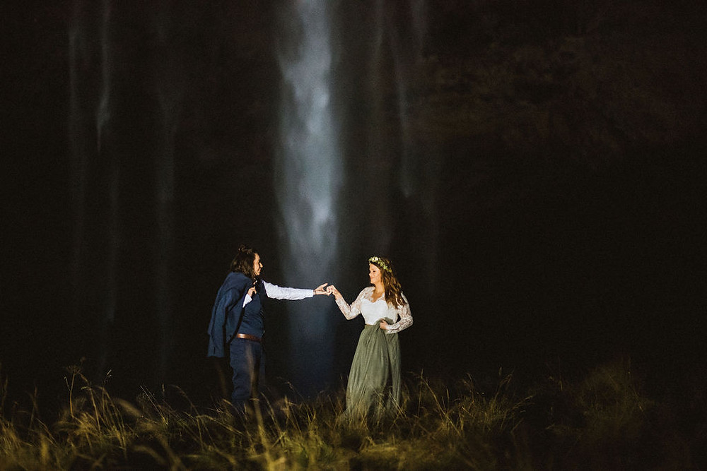 Iceland Wedding photos at Seljalandsfoss in Iceland by Kristin Maria
