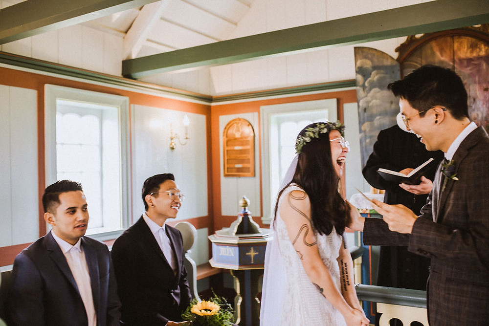 Iceland Elopement in Budir Black Church on Snaefellsnes peninsula. Photo by Iceland Wedding Photographer Kristin Maria