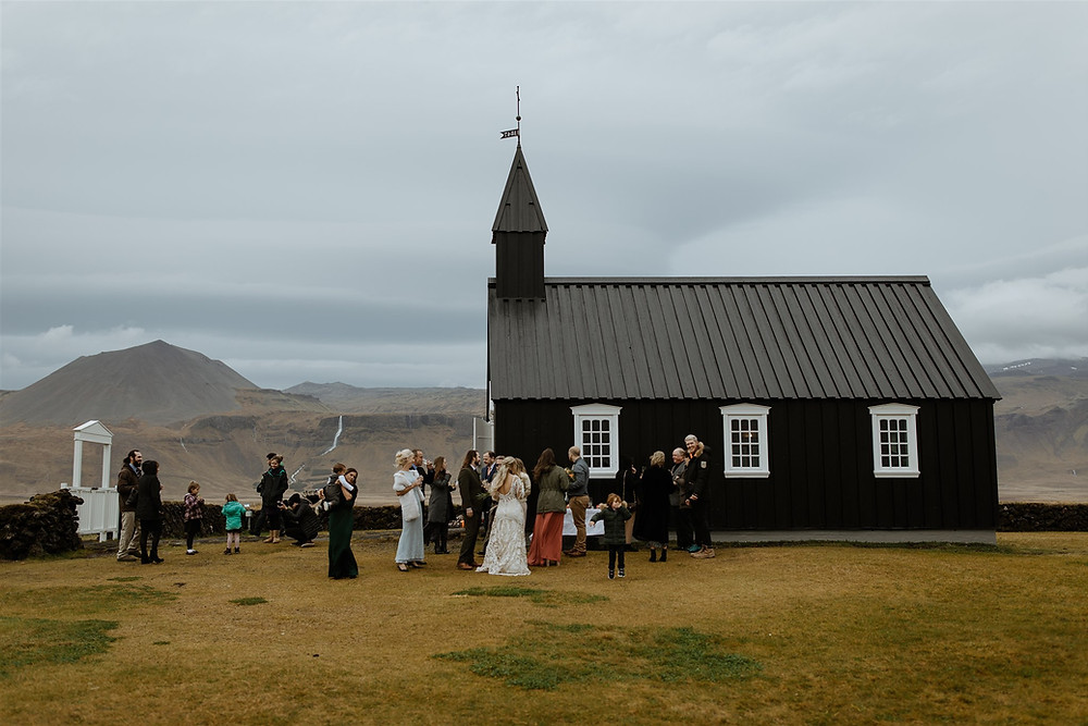Iceland Wedding picnic outside Budir Church. Iceland Wedding Photo by Styrmir & Heiddis