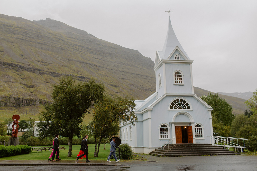 Iceland Wedding ceremony location was the Blue Church in Seydisfjordur
