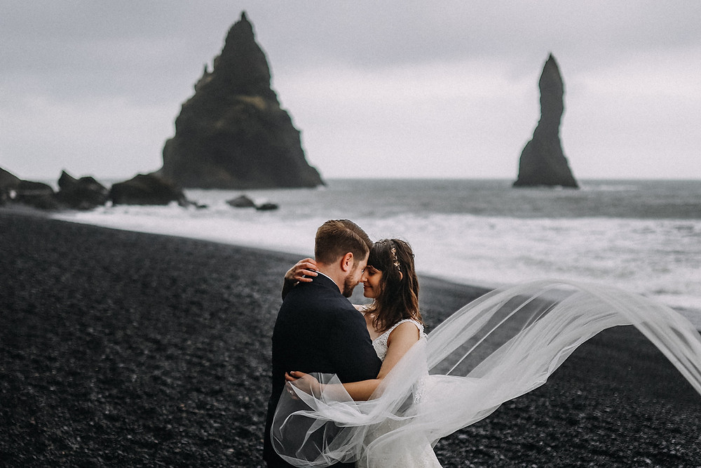 Iceland Reynisfjara black sand beach wedding photo by Kristin Maria wedding photographer
