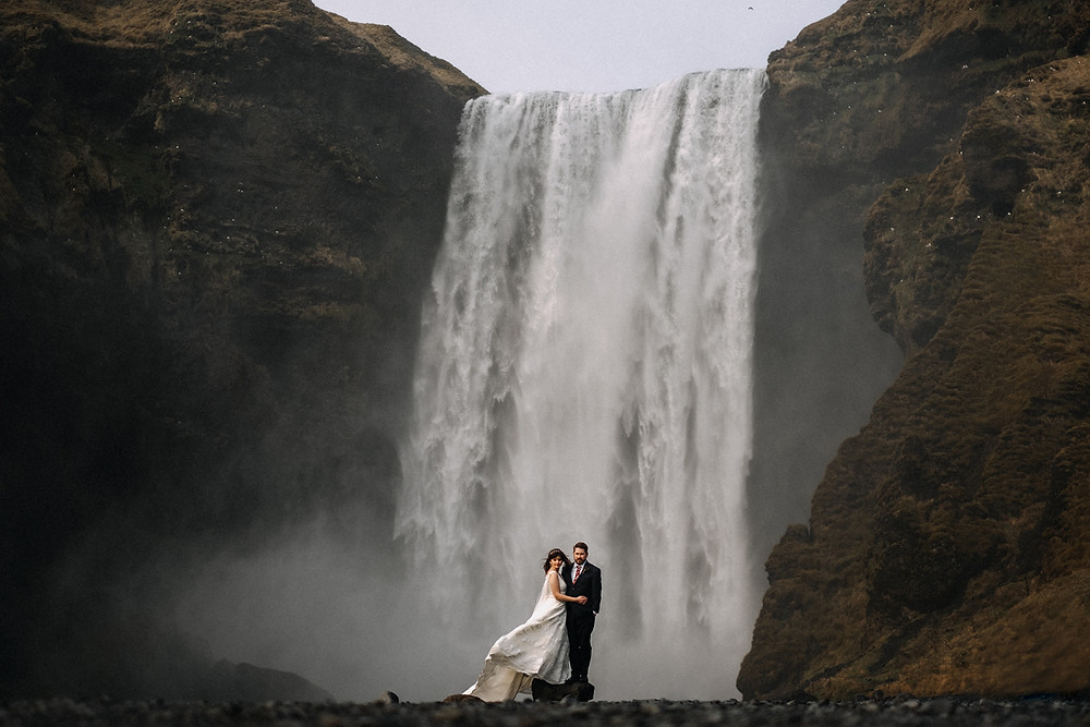 Iceland Skogafoss waterfall wedding photo by Kristin Maria wedding photographer