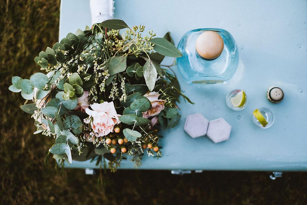 Icelandic wedding picnic with tequila and wedding cake