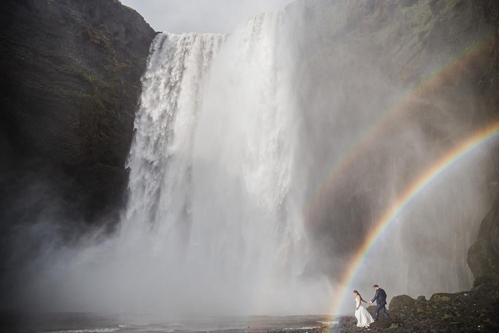 Skogafoss wedding photo in South Iceland