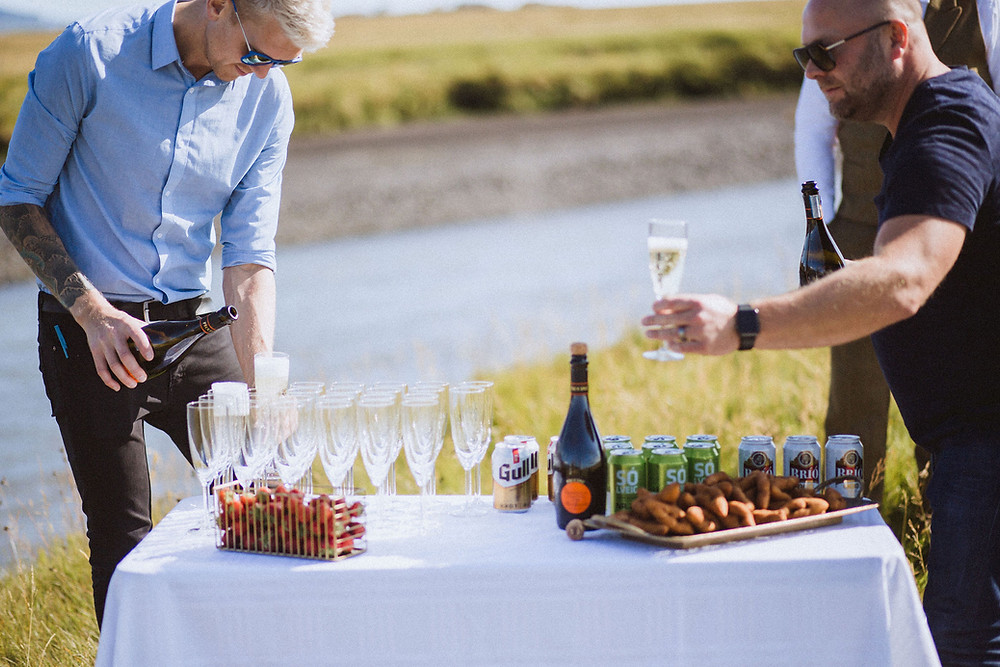 Pink Iceland prosecco wedding picnic