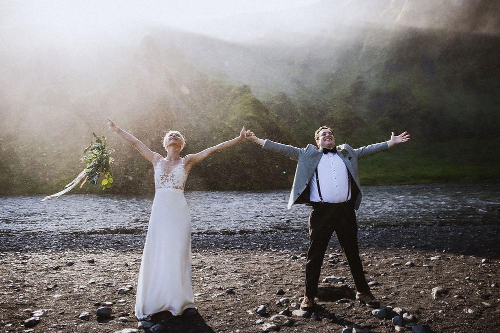 Skogafoss waterfall wedding photo