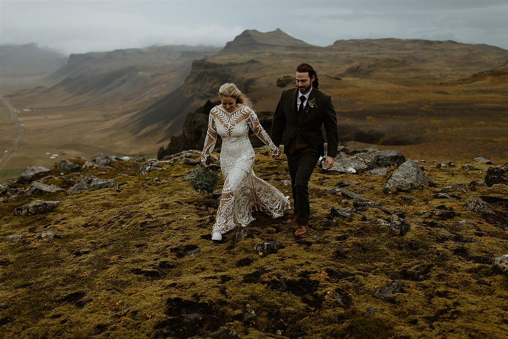 Snæfellsnes peninsula wedding photoshoot from a mountain top
