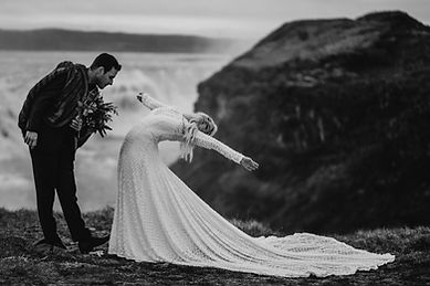 Midnight sun wedding ceremony in Iceland by Gullfoss waterfall