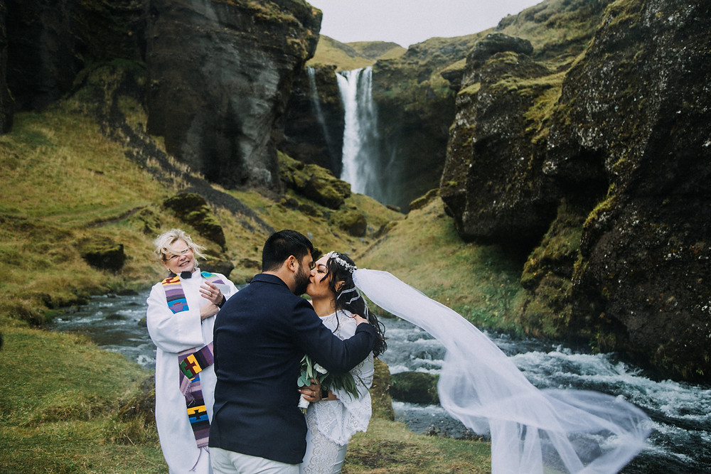 Iceland wedding ceremony with minister